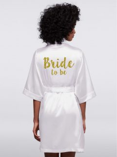 Halat Alb Satin Bride to Be Auriu