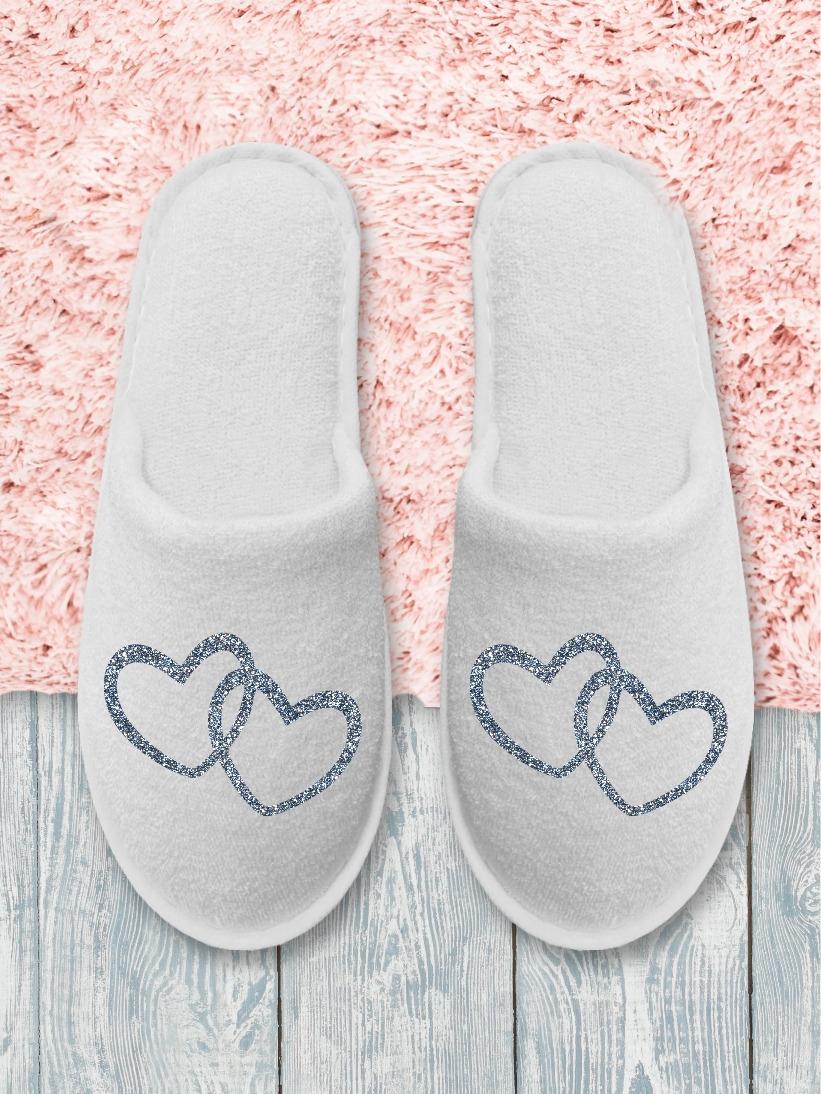 Papuci Mireasă Inimioare Argintii