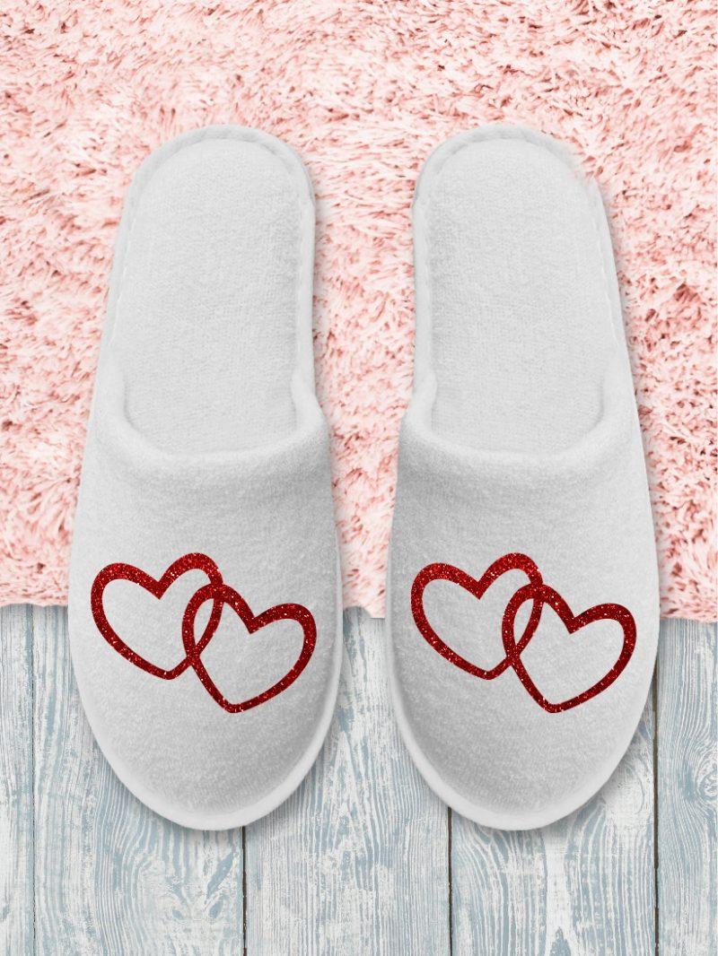 Papuci Mireasă Inimioare Roșii