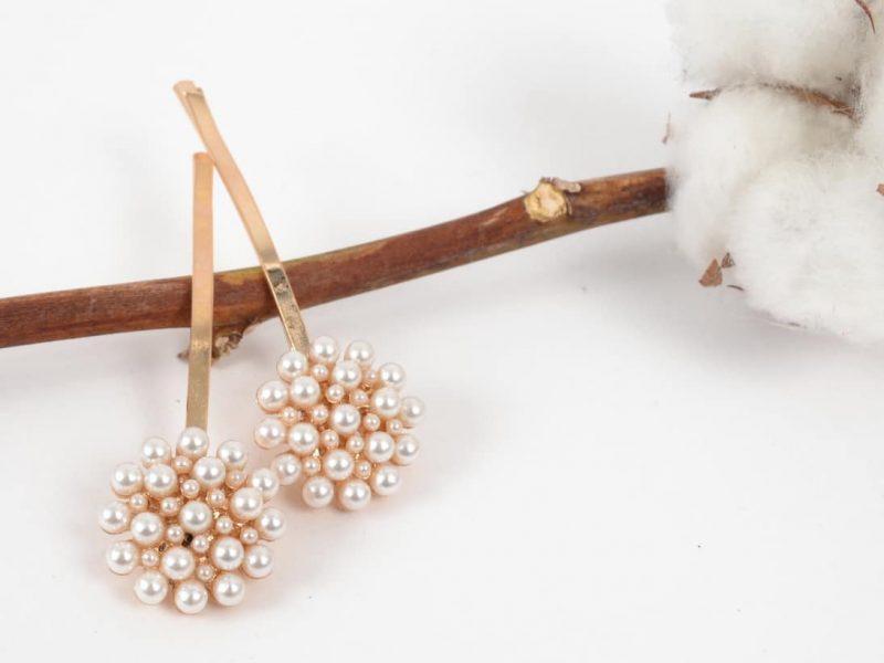 Set Agrafe Aurii cu Perle