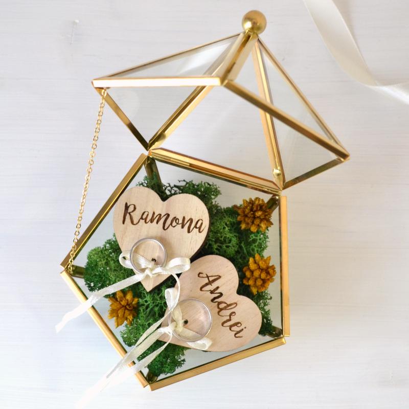 Cutie Verighete Sticlă Piramidă Aurie
