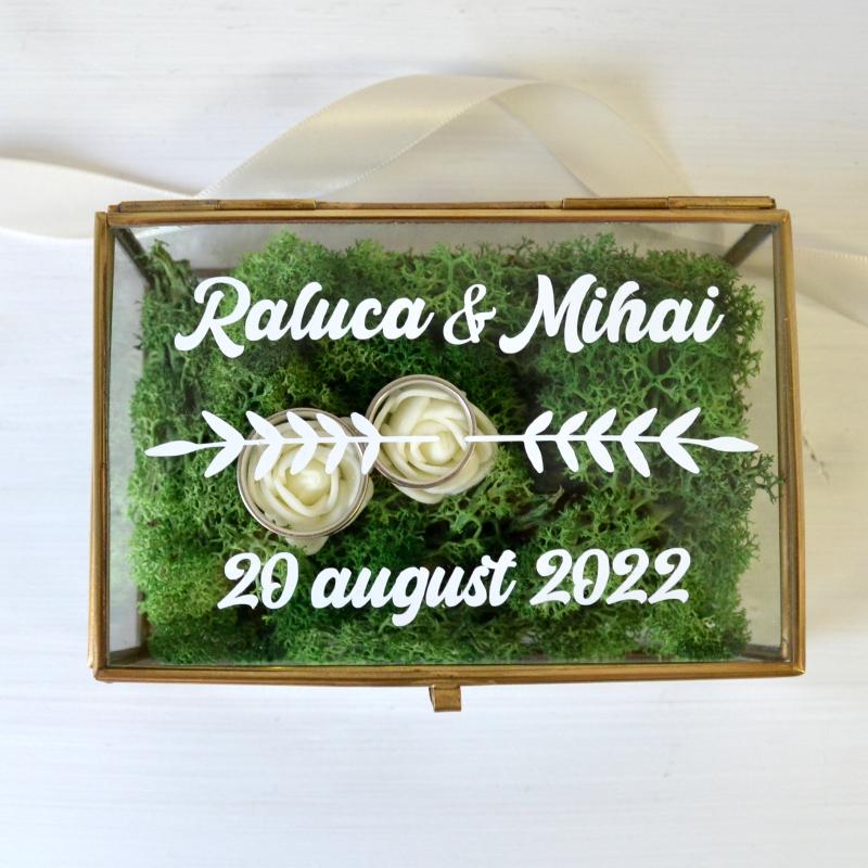 Cutie Verighete Personalizată Sticlă și Licheni
