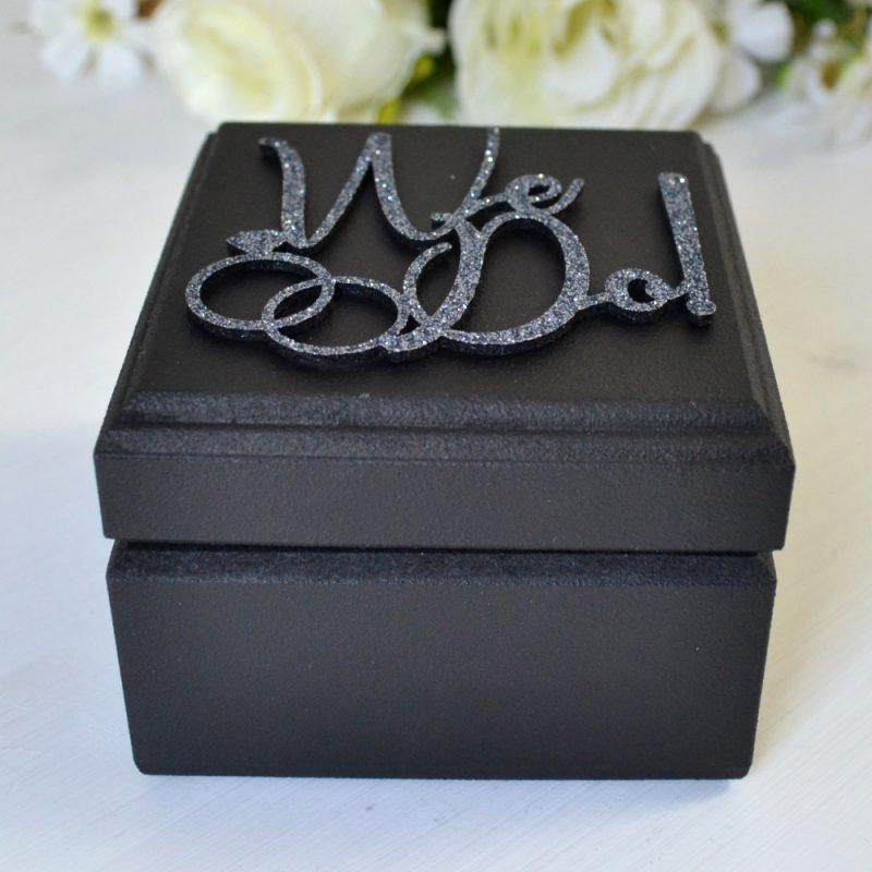 Cutie Verighete Lemn Neagră