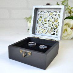 Cutie Verighete Lemn Negru cu Argintiu