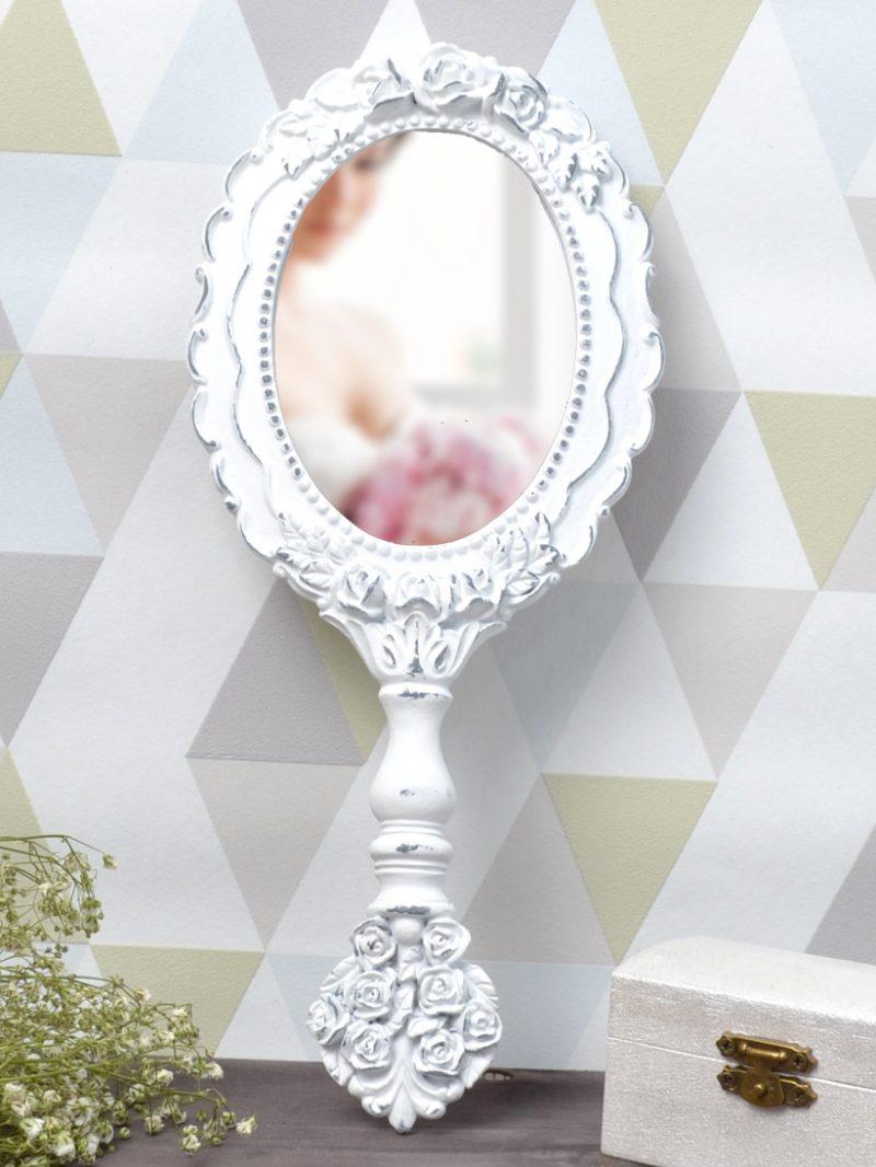 Oglindă Albă Ovală