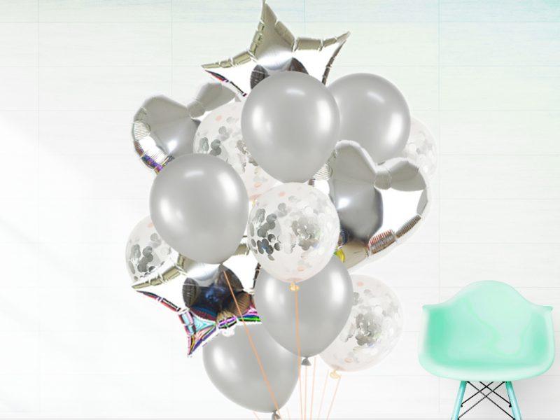 Set Baloane Folie și Confeti Argintiu