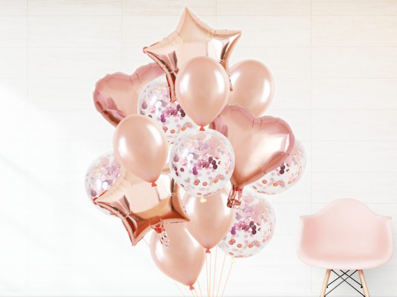 SET BALOANE FOLIE SI CONFETI ROSE GOLD