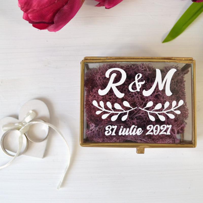 Cutie Verighete Personalizată Sticlă și Licheni Mov