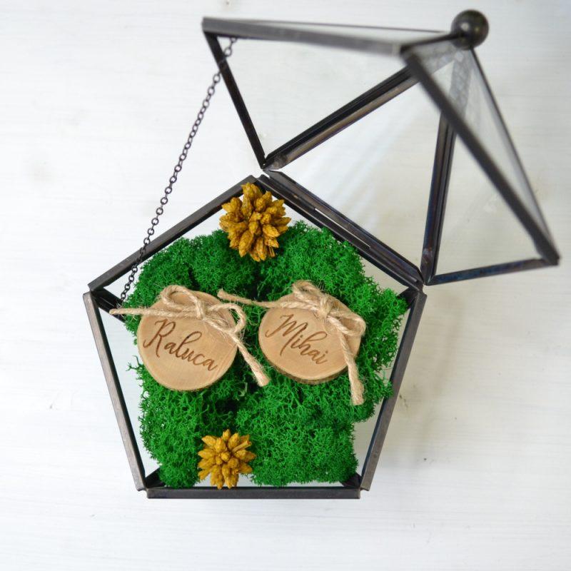 Cutie Verighete Neagră Sticlă și Metal Personalizată