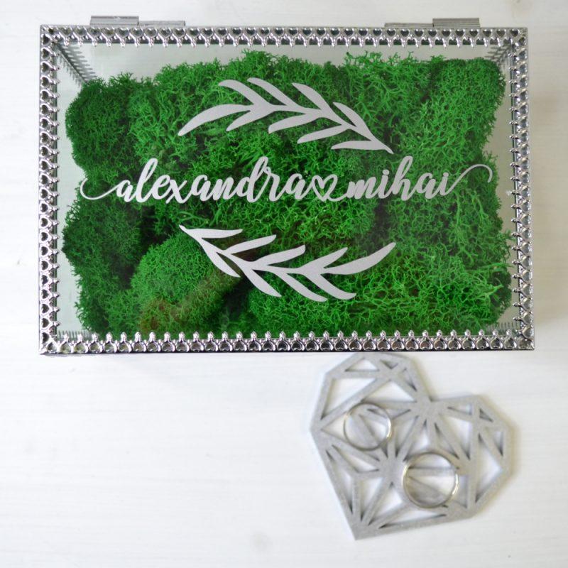 Cutie Verighete Argintie Sticlă și Metal Personalizată