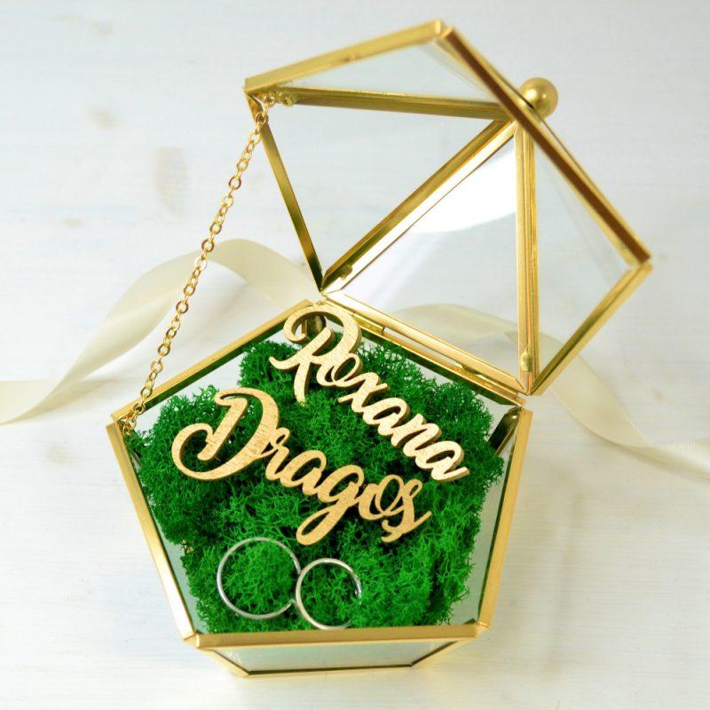 Cutie Verighete Sticlă Aurie Personalizată