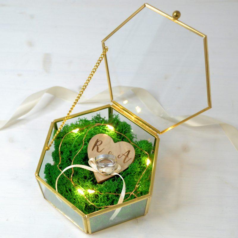 Cutie Verighete Hexagon cu Leduri