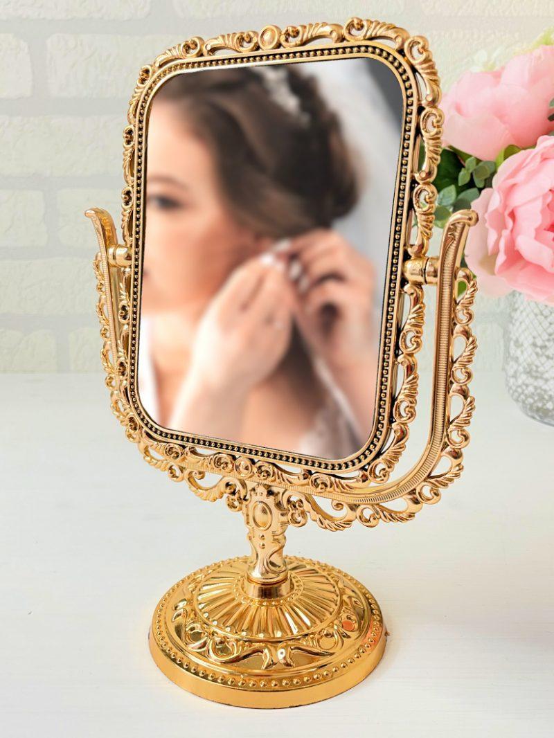 Oglindă Pătrată Aurie
